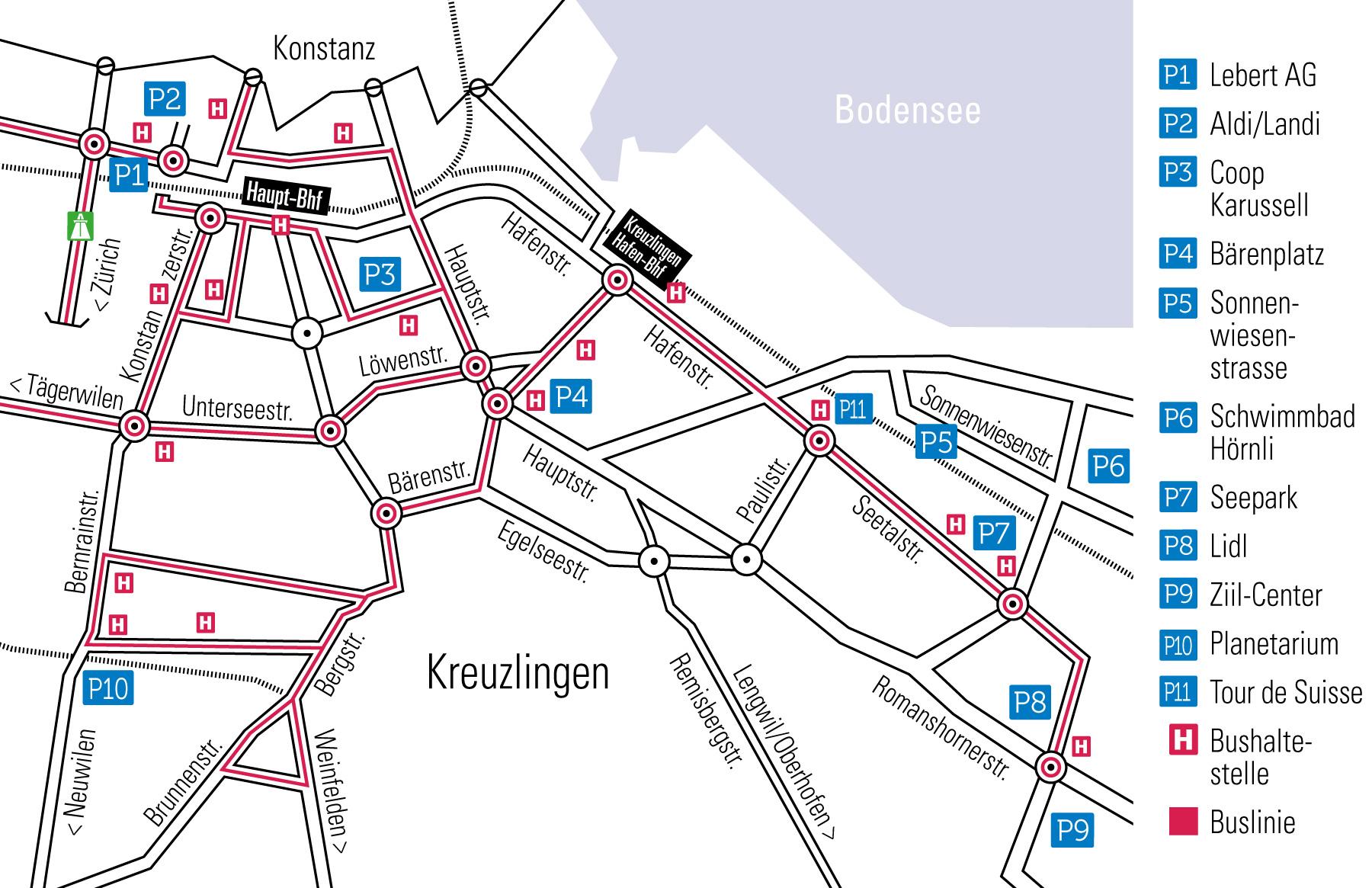Übersicht über Parkmöglichkeiten in Kreuzlingen